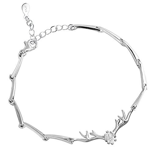 Shuang Pulsera para mujer, plata, plata de ley 925, cadena conjunta, aniversario de boda, cumpleaños, Navidad, amistad
