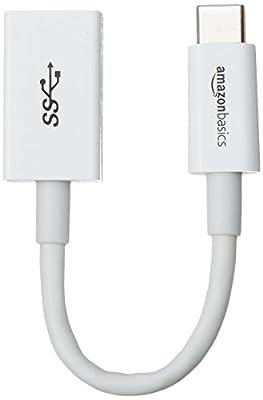 Amazon Basics USB Type-C to USB 3.1 Gen1 Female Adapter - White