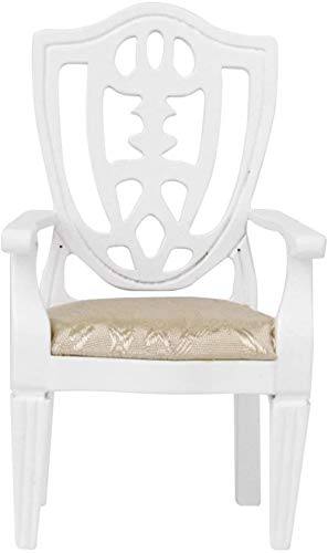 hsj 12.01 Puppenhaus-Möbel-Miniatur Stuhl aus Holz Sessel Weiß Exquisite Verarbeitung
