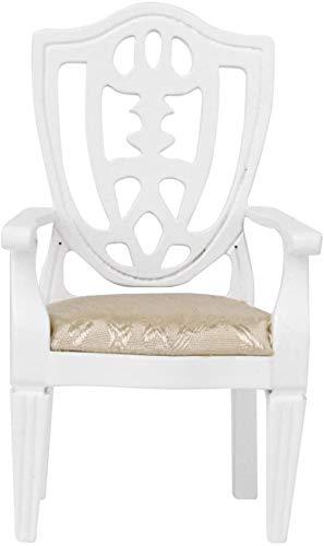 hsj 12.01 Puppenhaus-Möbel-Miniatur Stuhl aus Holz Sessel Weiß...