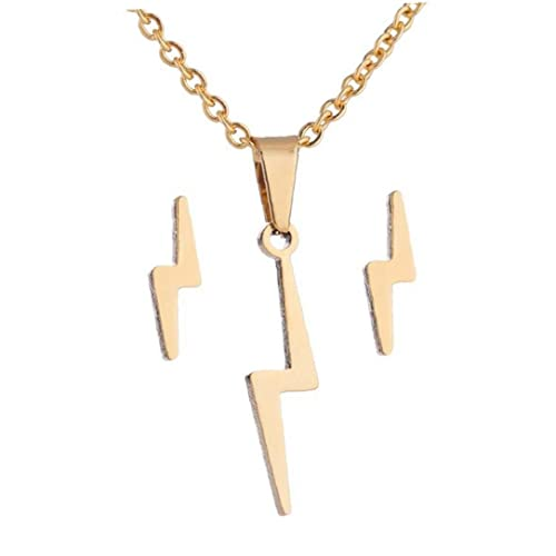 Pendientes de collar Conjunto Lámparas de acero inoxidable Pendientes Cadena de Cuello Collar Flash Dorado