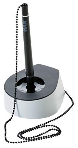 HAN 1770-31, Kugelschreiber-Ständer SALSA, Elegant, Stilvoll und mit robuster Metallkette, schwarz-lichtgrau - weitere Farben auswählbar