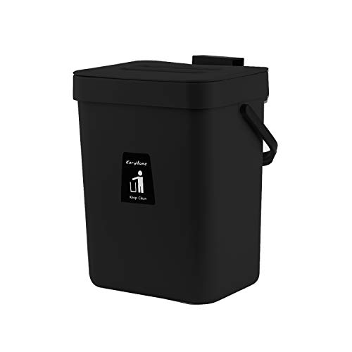 Buy KaryHome Kitchen Compost Bin for Counter Top, Hanging Small Trash Can with Lid Under Sink for Ki...