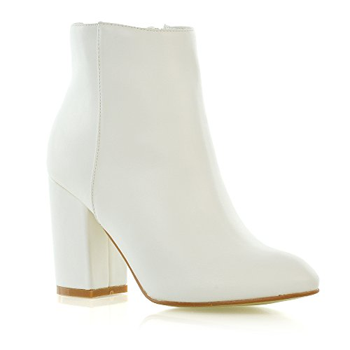 ESSEX GLAM Womens Casual Block Mid High Heel Smart Ankle Boots (6 B(M) US, White Synthetic Leather)