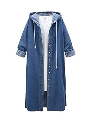 Yeokou Women's Distressed Autumn Loose Baggy Long Denim Jean Trucker Shirt Jacket Blue by