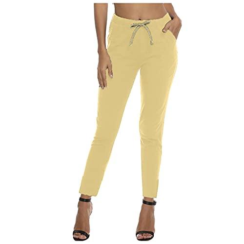 Bilbull Leggings de mujer, monocolor, con cinta de goma, con bolsillos, para...