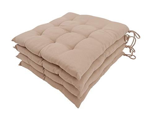 CB Home & Style 4er Set Stuhlkissen Sitzkissen Dekokissen ca. 40 x 40 cm 9er Steppung (Sand)