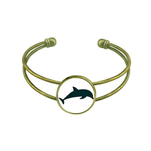 Blue Ocean Streamline Schwimmender Delfin-Armreif Retro Offene Manschette Schmuck