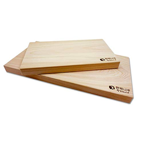 Hinoki Cutting Board, One-Piece Wood Chopping Board, Set of 2