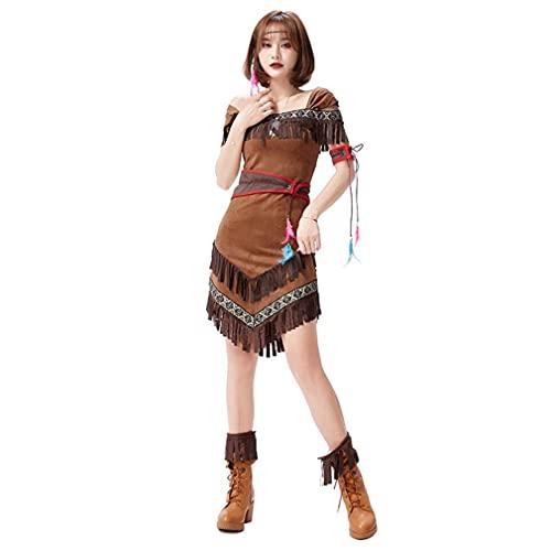 CGBF-Disfraz de Cosplay Indio Nativo Americano para Mujeres Adultas,Conjunto Vestido Corto Flecos Uniforme de Guerrera de La Jungla para Fiesta de Carnaval de Halloween de Disfraces,Marrn,M