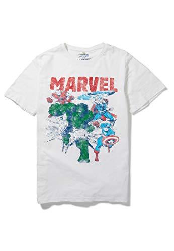 Recovered Marvel - T-Shirt mit Iron Man, Thor, Captain America & Hulk - Natur - M