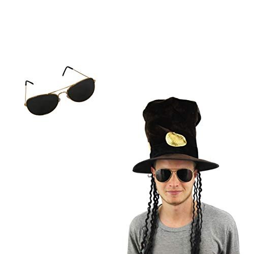 Slash Heavy Metal Rocker Hat with Wig and Sunglasses Fancy Dress