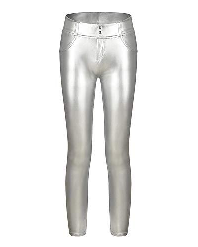 Minetom Mujer Elegante Brillante Pantalones Largos Leggings Tramo Pantalones Cuero Estilo Leggings Slim Trousers