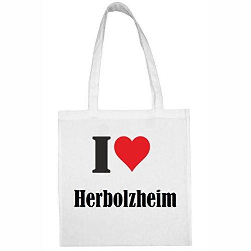 Tasche I Love Herbolzheim Größe 38x42 Farbe Weiss Druck Schwarz