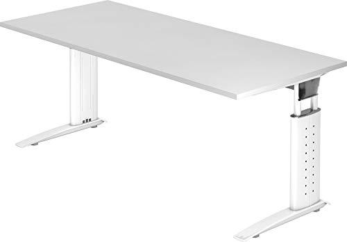 bümö® Schreibtisch höhenverstellbar 68-86 cm | Bürotisch mit Gestell in weiß | höhenverstellbarer Büroschreibtisch | Tisch für's Büro & PC in Top Qualität - Büromöbel (Rechteck: 180 x 80 cm, Weiß)