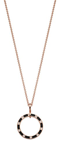 Pierre Cardin PCNL10018C420 - Collana da Donna con Ciondolo L'Anneau in Acciaio Inox con zirconi Bianchi Taglio Brillante 45 cm e Acciaio Inossidabile, Colore: Oro Rosa/Marrone, cod. PCNL10018D420