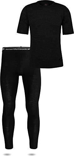 normani Herren Merino Unterwäsche-Set Garnitur (T-Shirt und Unterhose) 100% Merinowolle Thermounterwäsche Ski-Funktionsunterwäsche Farbe Schwarz Größe M/50