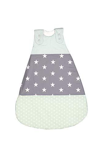 ULLENBOOM Saco de dormir de bebé para verano Menta Gris - Saco de dormir de bebé para el verano hecho de algodón, cómodo saco de dormir para bebés, tamaño: 56 a 62