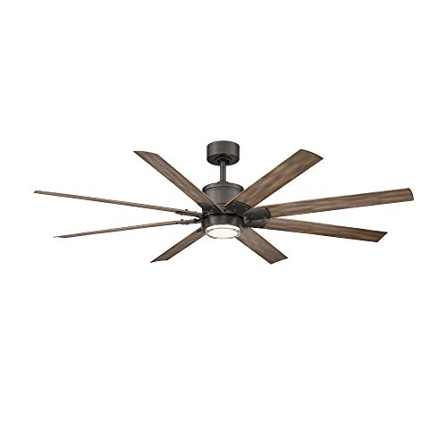 Renegade Indoor and Outdoor 8-Blade Smart Ceiling Fan 52in Oil Rubbed Bronze Barn Wood with 3000K LED Light Kit and Remote Control
