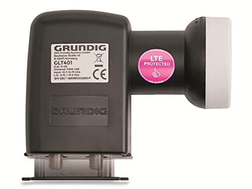 GRUNDIG Twin LNB-Digital 2 Teilnehmer- mit LTE-Filter, Twin LNB 2-Fach, digital mit Wetterschutz, Full HD, 4K LNB Twin - digitaler 2fach-LNB für Satellit-Fernsehen