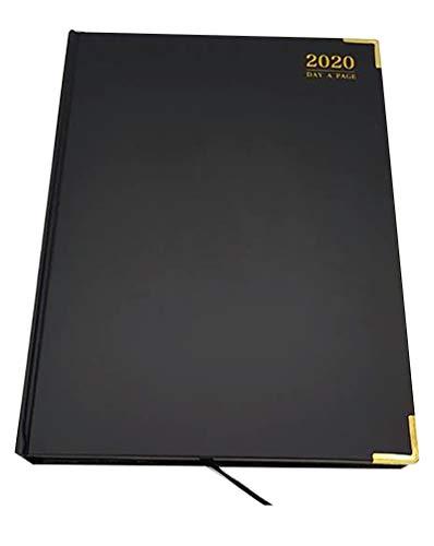 EJRange - Agenda professionale 2020, giornaliera, copertina in pelle PU, spazio per appunti, appuntamenti, calendario, congedo personale - nero e oro