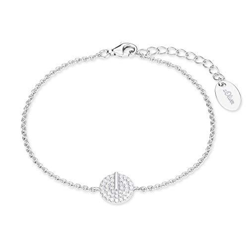 s.Oliver Damen-Armkette Sterling Silber 925 Zirkonia (synth.) rhodiniert längenverstellbar 17+3cm