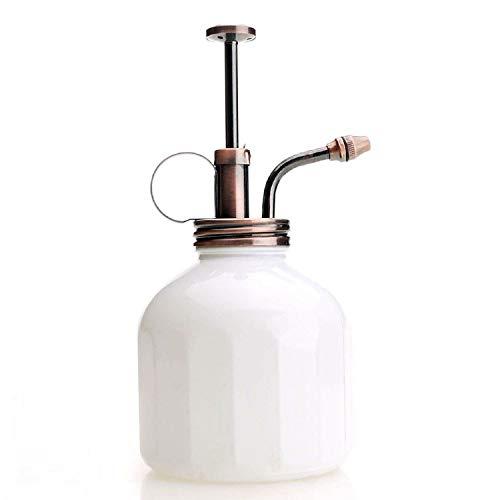 Purisie-stijl plant heer - witte kleur glazen fles & messing sprayer (antiek kop)