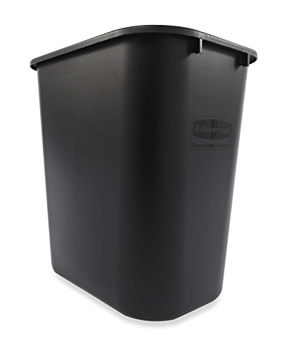 Rubbermaid Commercial Products Fg295600Bla Plastic Resin Deskside Wastebasket, 7 Gallon/28 Quart, Black