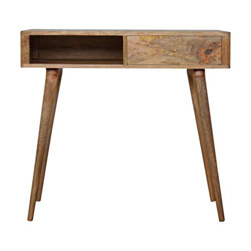 Artisan Furniture Leaf Embossed Resin Solid Wood Writing Desk Escritorio, Madera, marrón, Talla única