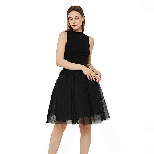 WEISIPU Women's 6 Layer Short A Line Elastic Waistband Tutu Tulle Prom Princess Midi Dance Skirt Black XL