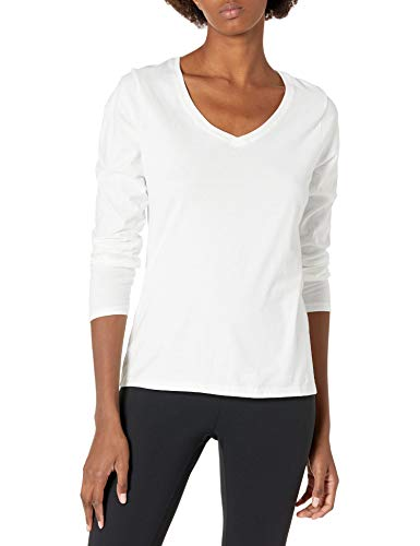 Hanes Women's V-Neck Long Sleeve Tee, White, Small