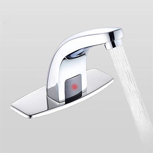 Grifos Sensor de cuarto de baño libre automático inteligente táctil grifos de ahorro de agua eléctrico inductivo El agua del grifo de agua fría Power Mixer Tap para baño (Color : Silver)
