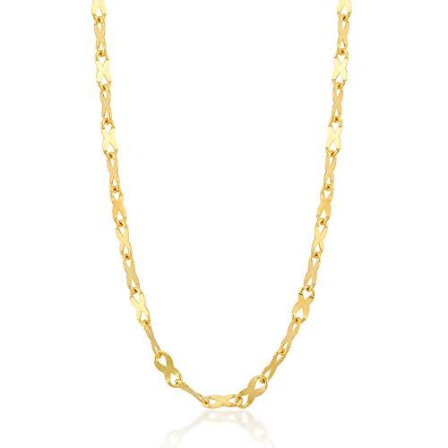 Gelin Halskette 14 Karat 585 Gelbgold Bohnenkette Gold mit Federring Verschluß - Breite 1mm - 1.7 Gr - Länge 45cm, 585er Gold, ohne anhänger