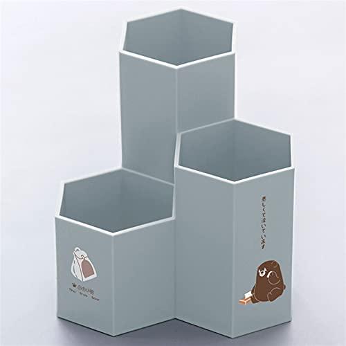 Portalápices, Colorido oficina oficina hexagonal pluma lápiz titular lindo pluma almacenamiento cosmético maquillaje caja de almacenamiento cajón escritorio ordenador accesorios ( Color : Bear Gray )