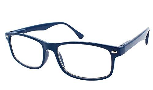 TBOC Gafas de Lectura Presbicia Vista Cansada - Graduadas +1.00 Dioptrías Montura de Pasta Azul Diseño Moda Hombre Mujer Unisex Lentes de Aumento para Leer Ver de Cerca Patillas Bisagras Resorte