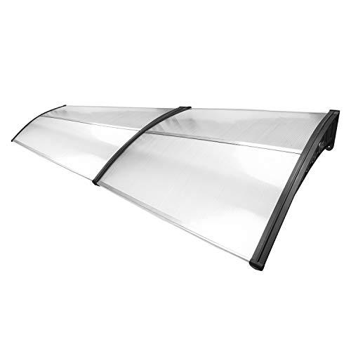 VINGO Pensilina per porta d'ingresso 200 x 100 cm pensilina ad arco pensilina trasparente pensilina con copertura in policarbonato 5 mm, staffa in PP