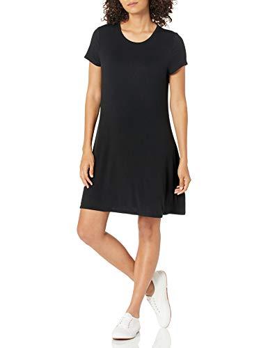 Amazon Essentials Damen-Swingkleid mit kurzen Ärmeln und U-Ausschnitt, Schwarz (Black), XL