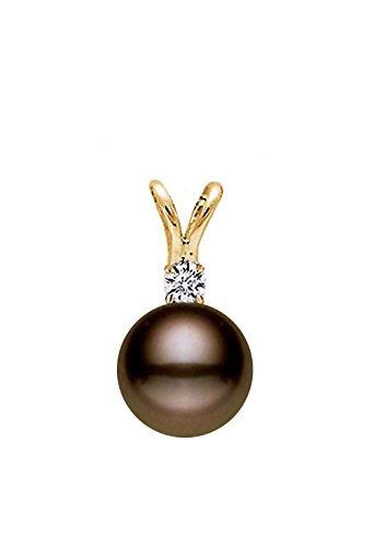14K Or AAA Qualité Classique Cacao perle de culture d'eau douce–Diamant