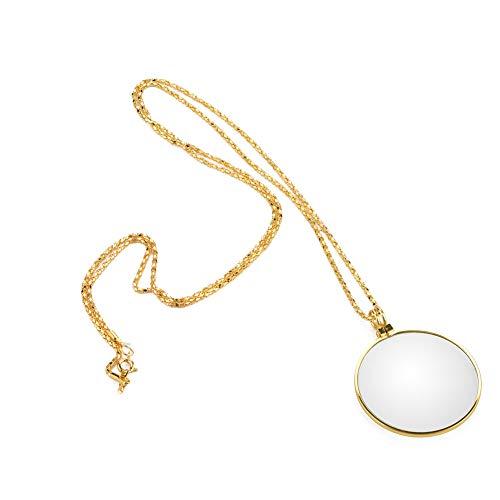 HäNgende Lupe, Portable 5X Lupe Monokel-Objektiv Mit HäNgenden Halskette Zum Lesen Handwerk Handarbeiten Schmuck Hobbys (Gold)