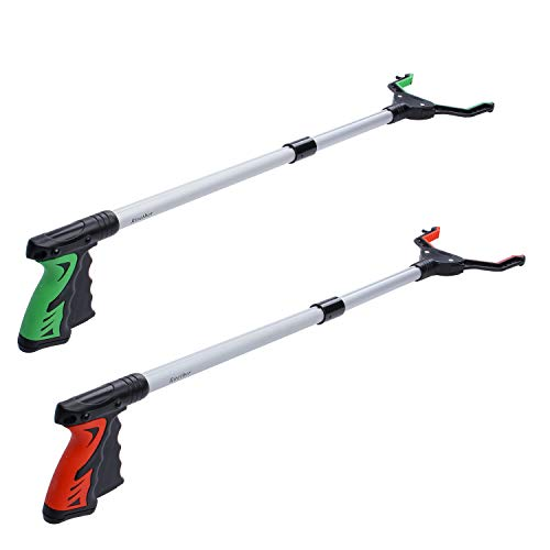Rirether Grabber Tool for Elderly 32quot Reacher Grabber with Magnetic Tip and Hook Rotating Gripper Claw Grabber Durable Aluminum Alloy Foldable Lightweight Reacher 2 Pack Red and Green