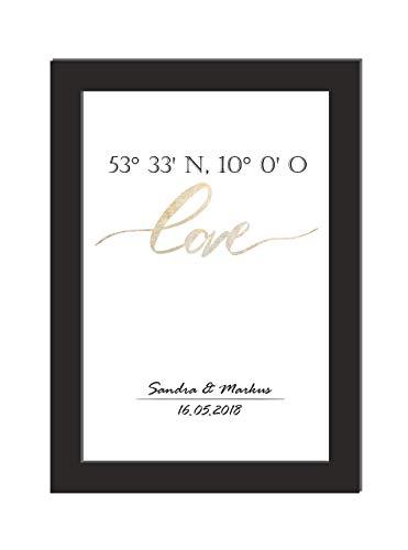 Poster/personalisiertes Bild/Bild Koordinaten/Das perfekte Geschenk zum Jahrestag oder zur Hochzeit/Brillanter Laserdruck auf hochwertigem Papier/Größe DIN A4 ohne Bilderrahmen