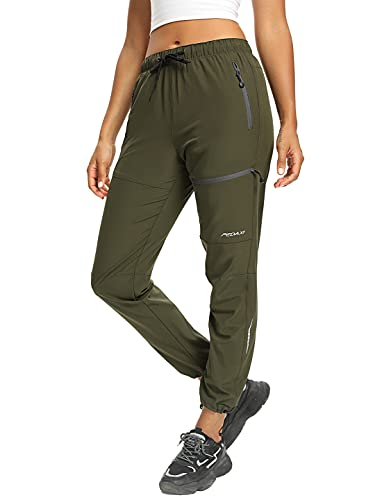 Cargo Hiking Pants for Women Lightweight Quick Dry Water Resistant Outdoor Joggers Pants UPF 50+ with Zipper Pockets Army Green XL