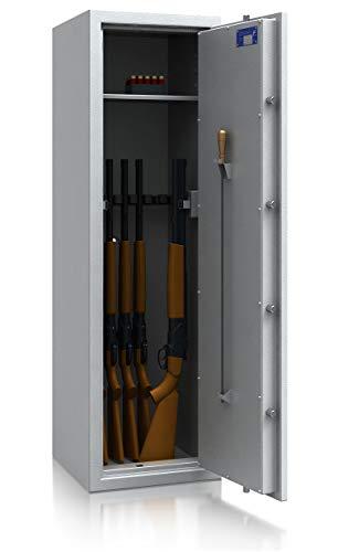 SafeHero Waffenschrank Klasse 0/N EN 1143-1 Secureo Hawk 9 XL | Schlüsselschloss | für 9 Langwaffen und Kurzwaffen inkl. Munition | 1500x450x450 | 165 kg