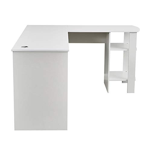 Wood Corner Computer Desk Home Office L-Shaped Workstation Table with Bookshlef (White)