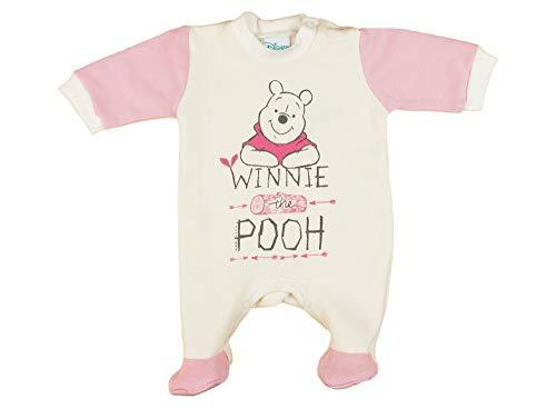 Baby Strampler Disney Winnie Pooh Langarm Babystrampler - Bekleidung mit Füßchen Pink für Mädchen 56 62 68 Schlafanzug, Größe: 68