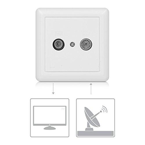 kwmobile Prise Murale TV Double - Prise électrique bidirectionnelle pour télévision antenne Radio - Courant continu DC 2 Trous pour câble coaxial
