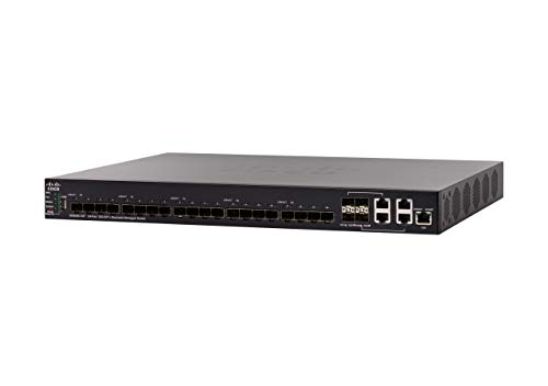 Cisco SX550X-24F Stackable Managed Switch   24 ports 10 Gigabit Ethernet (GbE)   20 slots SFP+   4 x 10G Combo SFP+   L3 Dynamic Routing   Limited Lifetime Protection (SX550X-24F-K9-NA)
