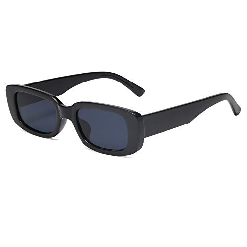 VANLINKER Rectangle Retro Vintage 90s Sunglasses For Women Dollger Rectangular Chunky Glasses Escape with Black Frame/Grey Lens