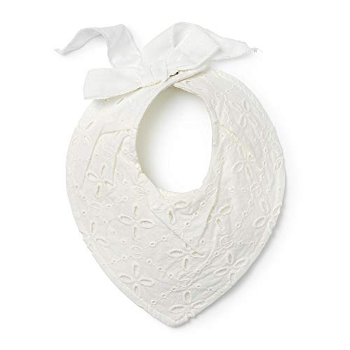 Elodie Details Bavaglino a Bandana per Bebè - DryBib per Dentizione in Cotone Idrorepellente Oeko-Tex 0-12 Mesi - Embroidery Anglaise, Bianco