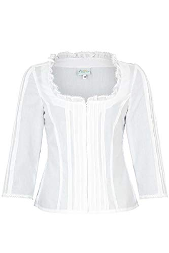 Trachten Stoiber Damen Trachten Mieder-Bluse Langarm weiß, WEIß, 36
